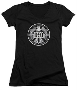 Supergirl Juniors V Neck Shirt DEO Symbol Black T-Shirt