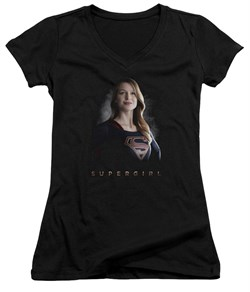 Supergirl Juniors V Neck Shirt Standing Tall Black T-Shirt