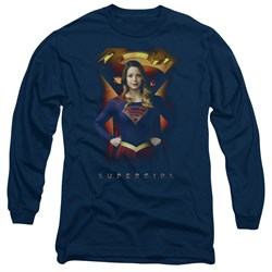Supergirl Long Sleeve Shirt Standing Symbol Navy Blue Tee T-Shirt