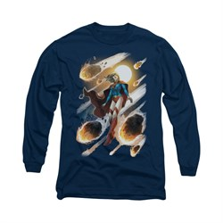 Supergirl Shirt #1 Long Sleeve Navy Blue Tee T-Shirt