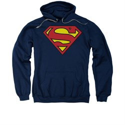 Image of Superman Hoodie Basic Logo Navy Sweatshirt Hoody