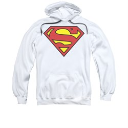 Image of Superman Hoodie Basic Logo White Sweatshirt Hoody