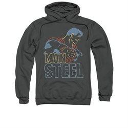 Superman Hoodie Colored Lines Charcoal Sweatshirt Hoody