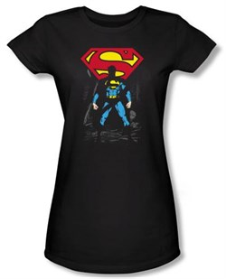 Superman Juniors T-shirt DC Comics Dark Alley Logo Black Tee Shirt