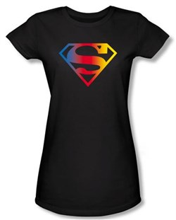 Superman Juniors Shirt DC Comics Gradient Shield Logo Black T-Shirt