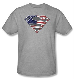 Image of Superman Kids Shirt American Flag Shield Patriotic Superman Youth Tee