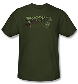 Image of Superman Kids T-shirt Camo Logo And Shield Army Green Tee Youth