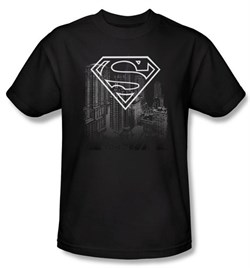 Superman Kids T-shirt DC Comics Metropolis Skyline Black Tee Youth