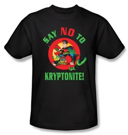 Superman Kids T-shirt DC Comics Say No To Kryptonite Black Tee Youth