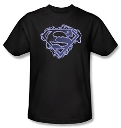 Image of Superman Kids T-Shirt Electric Supes Shield Logo Black Tee Youth