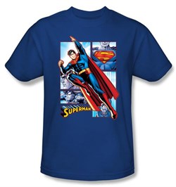 Superman Kids Shirt The Man Of Steel Panels Youth Royal Blue T-Shirt