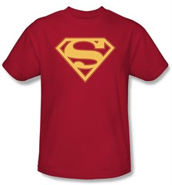 Image of Superman Logo Kids T-Shirt Red And Gold Shield Red Tee Youth