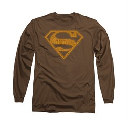 Superman Shirt 60's Shield Long Sleeve Coffee Tee T-Shirt