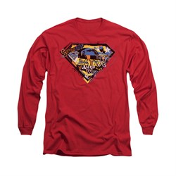 Superman Shirt American Way Long Sleeve Red Tee T-Shirt