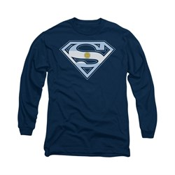 Superman Shirt Argentinian Shield Long Sleeve Navy Tee T-Shirt