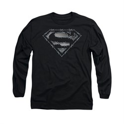 Superman Shirt Barbed Wire Long Sleeve Black Tee T-Shirt
