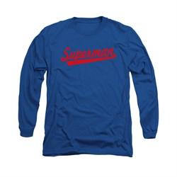 Superman Shirt Baseball Logo Long Sleeve Royal Blue Tee T-Shirt