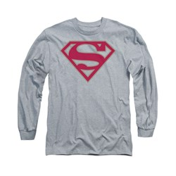 Superman Shirt Crimson Shield Long Sleeve Athletic Heather Tee T-Shirt