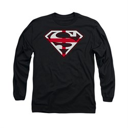 Image of Superman Shirt English Shield Long Sleeve Black Tee T-Shirt