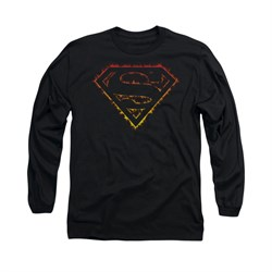 Superman Shirt Flame Outlined Long Sleeve Black Tee T-Shirt
