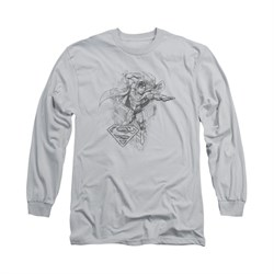 Superman Shirt Flex Flying Long Sleeve Silver Tee T-Shirt