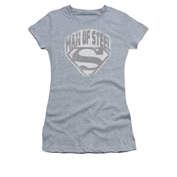 Superman Shirt Juniors Distressed Man Of Steel Athletic Heather T-Shirt