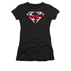 Image of Superman Shirt Juniors English Shield Black T-Shirt