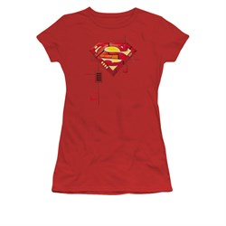 Image of Superman Shirt Juniors Mech Shield Red T-Shirt