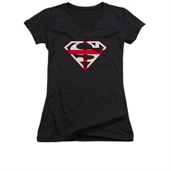 Image of Superman Shirt Juniors V Neck English Shield Black T-Shirt