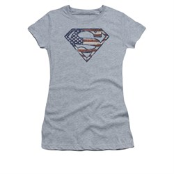 Image of Superman Shirt Juniors Wartorn Flag Shield Athletic Heather T-Shirt