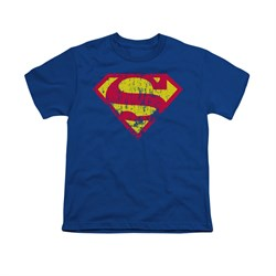 Distressed | Superman | Classic | T-Shirt | Royal | Shirt | Logo | Blue | Kid