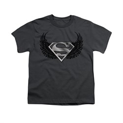 Image of Superman Shirt Kids Dirty Wings Charcoal T-Shirt