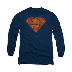 Superman Shirt Messy Shield Long Sleeve Navy Tee T-Shirt