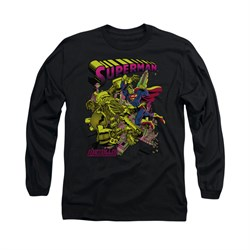 Superman Shirt Metallo Long Sleeve Black Tee T-Shirt