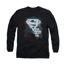 Superman Shirt Never Die Long Sleeve Black Tee T-Shirt
