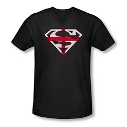 Image of Superman Shirt Slim Fit V-Neck English Shield Black T-Shirt