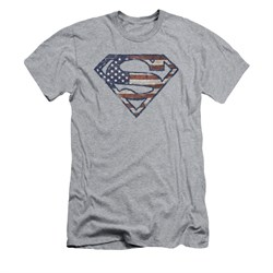 Image of Superman Shirt Slim Fit Wartorn Flag Shield Athletic Heather T-Shirt