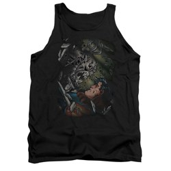Image of Superman Shirt Tank Top Battle Black Tanktop