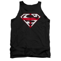 Image of Superman Shirt Tank Top English Shield Black Tanktop
