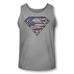 Image of Superman Shirt Tank Top Wartorn Flag Shield Athletic Heather Tanktop