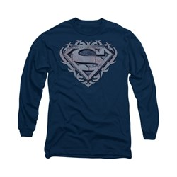 Superman Shirt Tribal Steel Long Sleeve Navy Tee T-Shirt
