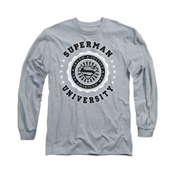 Superman Shirt University Long Sleeve Athletic Heather Tee T-Shirt