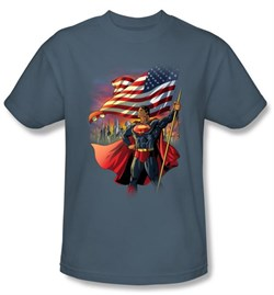 Superman T-shirt DC Comics American Flag Hero Adult Slate Tee Shirt