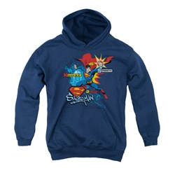Image of Superman Youth Hoodie Abilities Navy Kids Hoody