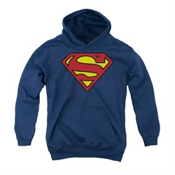 Image of Superman Youth Hoodie Basic Logo Navy Kids Hoody