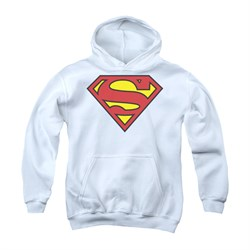 Image of Superman Youth Hoodie Basic Logo White Kids Hoody
