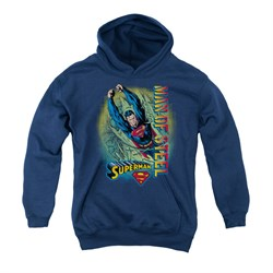 Image of Superman Youth Hoodie Break Through Navy Kids Hoody