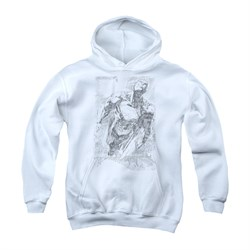 Image of Superman Youth Hoodie Flying Sketch White Kids Hoody