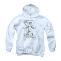 Image of Superman Youth Hoodie Sketch White Kids Hoody