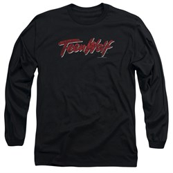 Teen Wolf Long Sleeve Shirt Scrawl Logo Black Tee T-Shirt